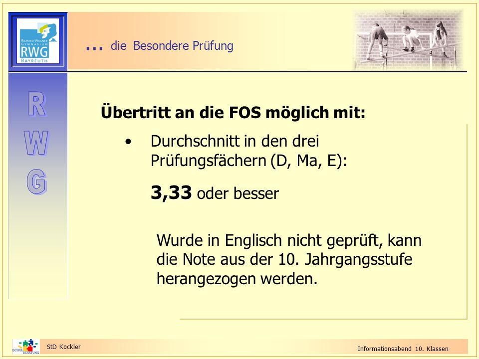 StD Kockler Informationsabend 10. Klassen... die Besondere Prüfung Übertritt an die FOS möglich mit: Durchschnitt in den drei Prüfungsfächern (D, Ma,