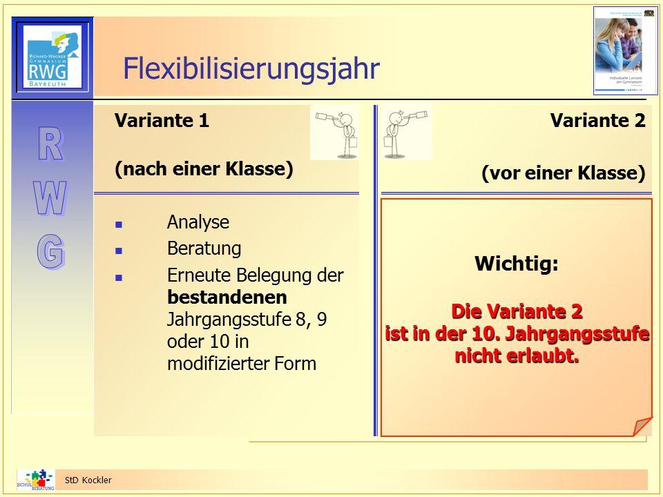 StD Kockler Flexibilisierungsjahr Variante 1 (nach einer Klasse) Analyse Beratung Erneute Belegung der bestandenen Jahrgangsstufe 8, 9 oder 10 in modi