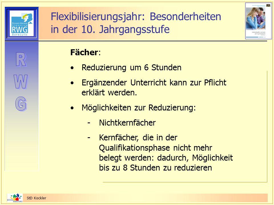 StD Kockler Flexibilisierungsjahr: Besonderheiten in der 10. Jahrgangsstufe Fächer: Reduzierung um 6 Stunden Ergänzender Unterricht kann zur Pflicht e