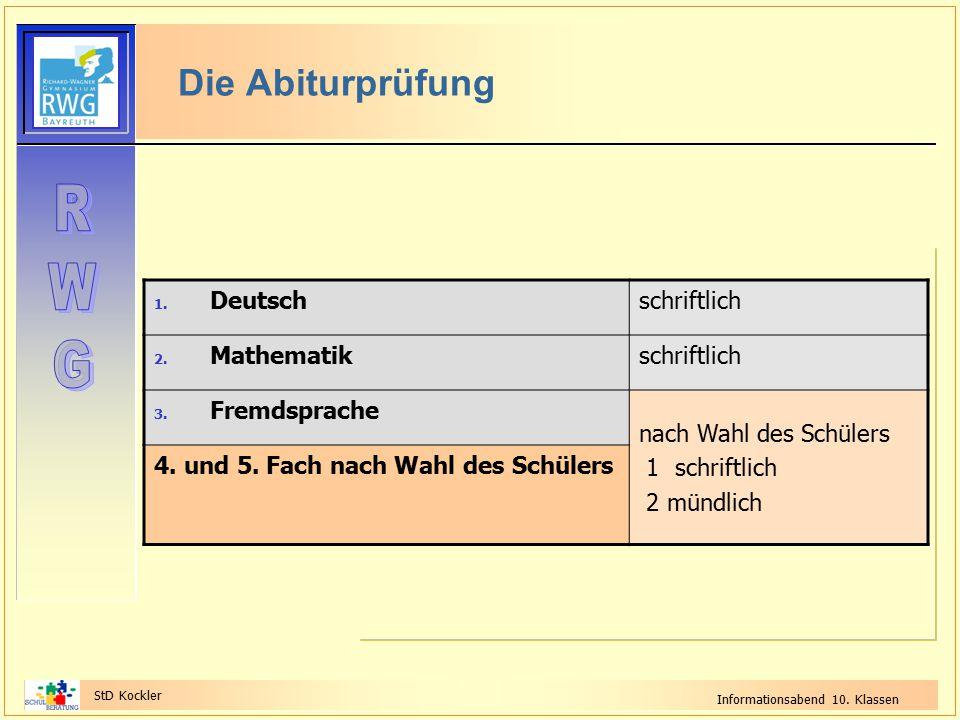 StD Kockler Informationsabend 10. Klassen Die Abiturprüfung 1. Deutschschriftlich 2. Mathematikschriftlich 3. Fremdsprache nach Wahl des Schülers 1 sc