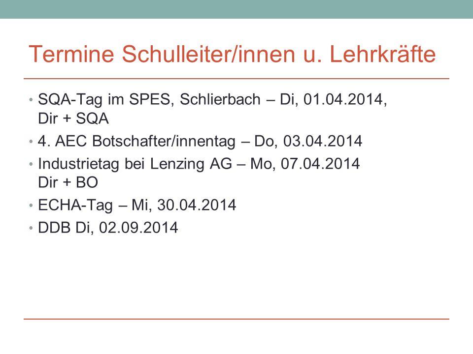 Termine Schulleiter/innen u. Lehrkräfte SQA-Tag im SPES, Schlierbach – Di, 01.04.2014, Dir + SQA 4.