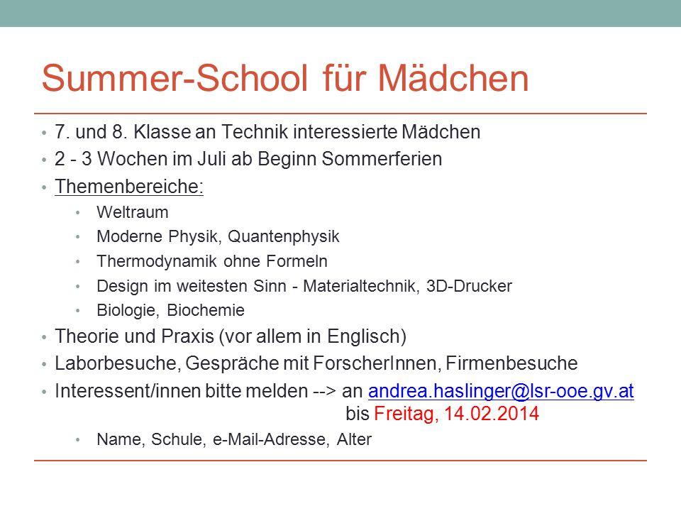 Summer-School für Mädchen 7. und 8.