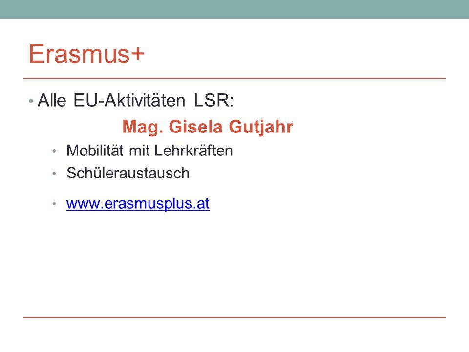 Erasmus+ Alle EU-Aktivitäten LSR: Mag.