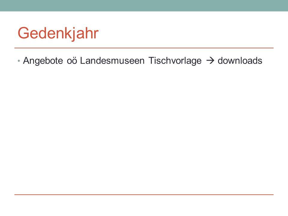 Gedenkjahr Angebote oö Landesmuseen Tischvorlage  downloads