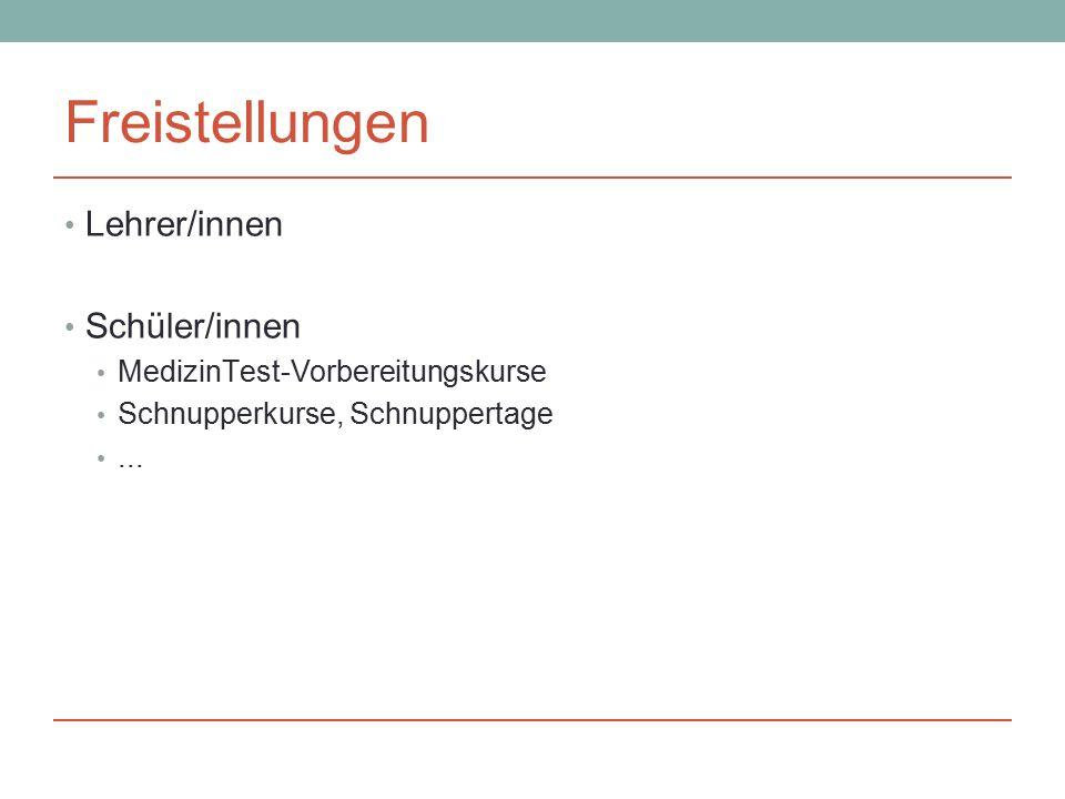 Freistellungen Lehrer/innen Schüler/innen MedizinTest-Vorbereitungskurse Schnupperkurse, Schnuppertage...