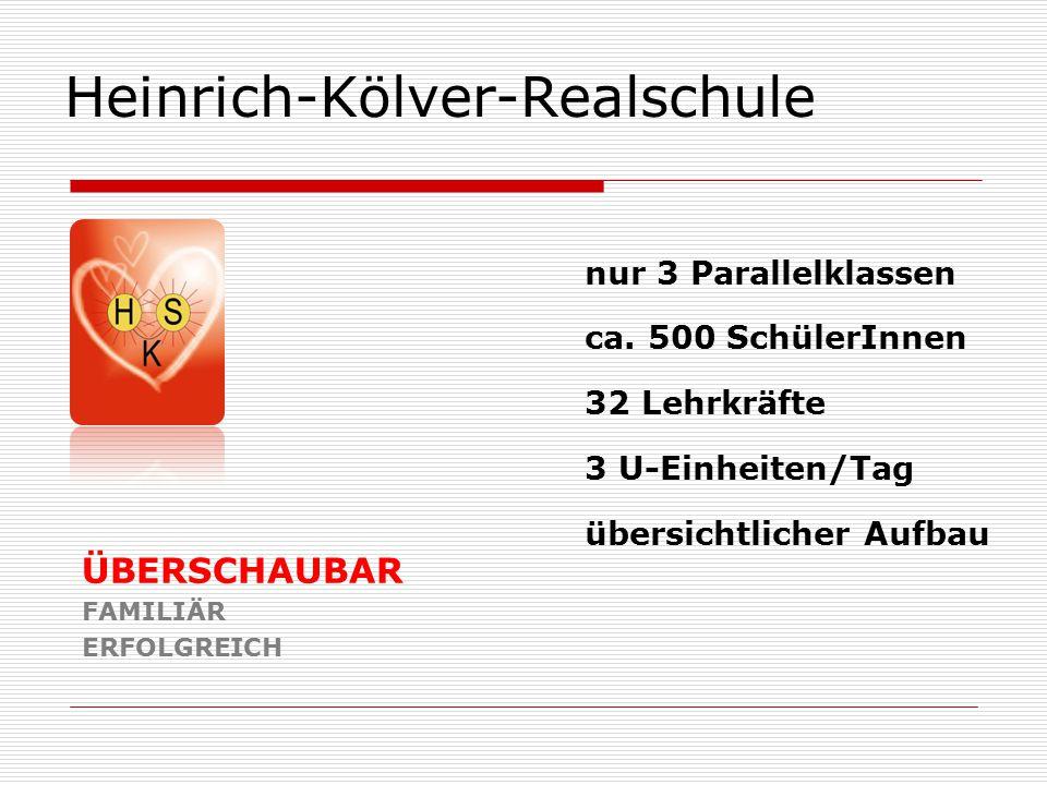 Heinrich-Kölver-Realschule ÜBERSCHAUBAR FAMILIÄR ERFOLGREICH nur 3 Parallelklassen ca. 500 SchülerInnen 32 Lehrkräfte 3 U-Einheiten/Tag übersichtliche