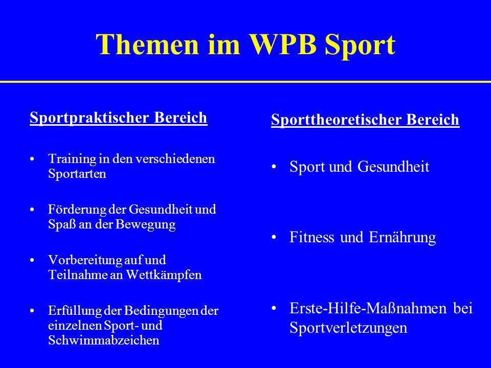 Themen im WPB Sport Sportpraktischer Bereich Training in den verschiedenen Sportarten Förderung der Gesundheit und Spaß an der Bewegung Vorbereitung a