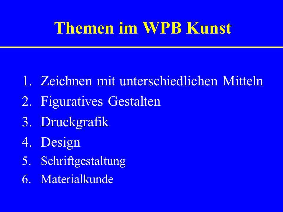 Themen im WPB Kunst 1.Zeichnen mit unterschiedlichen Mitteln 2.Figuratives Gestalten 3.Druckgrafik 4.Design 5.Schriftgestaltung 6.Materialkunde