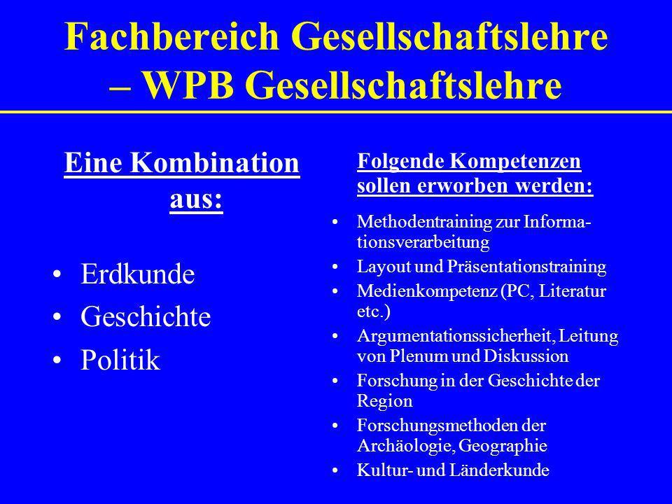 Fachbereich Gesellschaftslehre – WPB Gesellschaftslehre Folgende Kompetenzen sollen erworben werden: Methodentraining zur Informa- tionsverarbeitung L