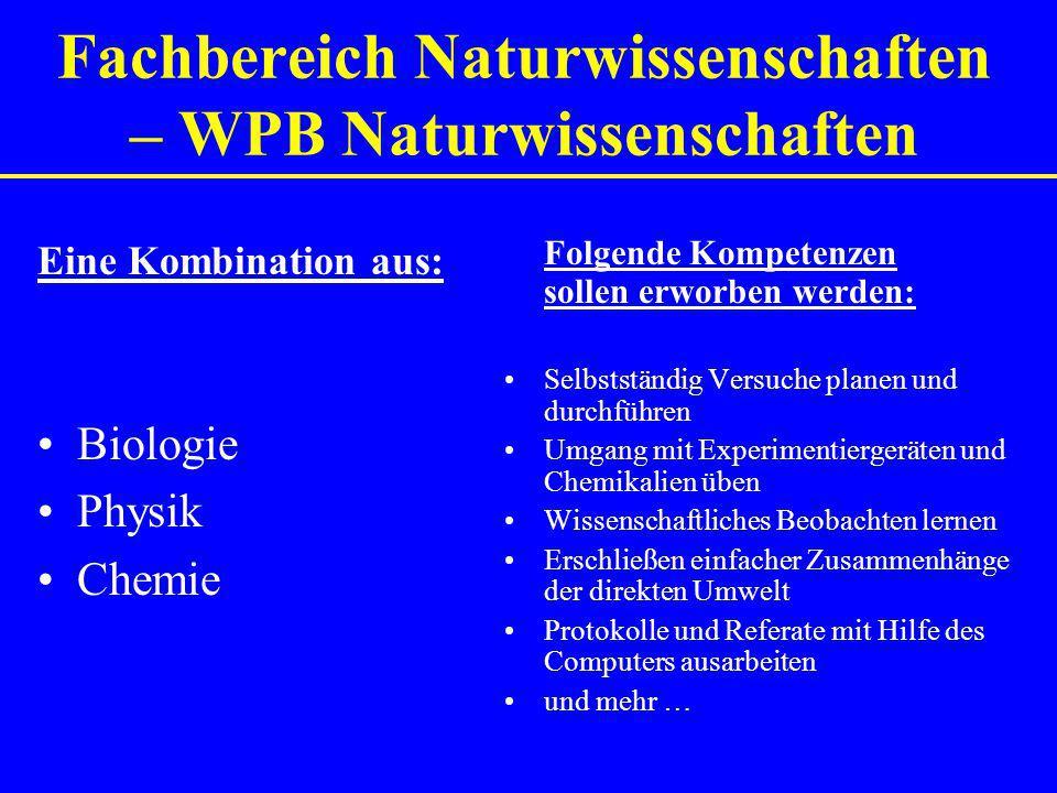 Fachbereich Naturwissenschaften – WPB Naturwissenschaften Eine Kombination aus: Biologie Physik Chemie Folgende Kompetenzen sollen erworben werden: Se