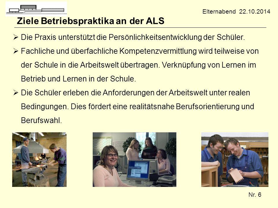 Nr. 6 Ziele Betriebspraktika an der ALS  Die Praxis unterstützt die Persönlichkeitsentwicklung der Schüler.  Fachliche und überfachliche Kompetenzve