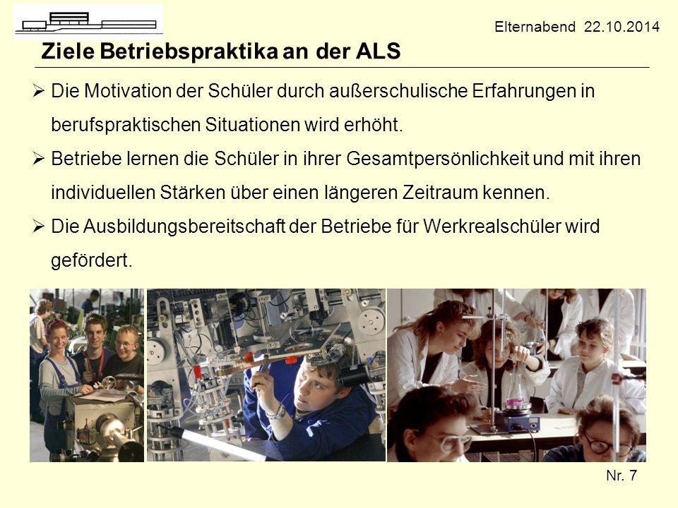 Nr. 7 Ziele Betriebspraktika an der ALS  Die Motivation der Schüler durch außerschulische Erfahrungen in berufspraktischen Situationen wird erhöht. 