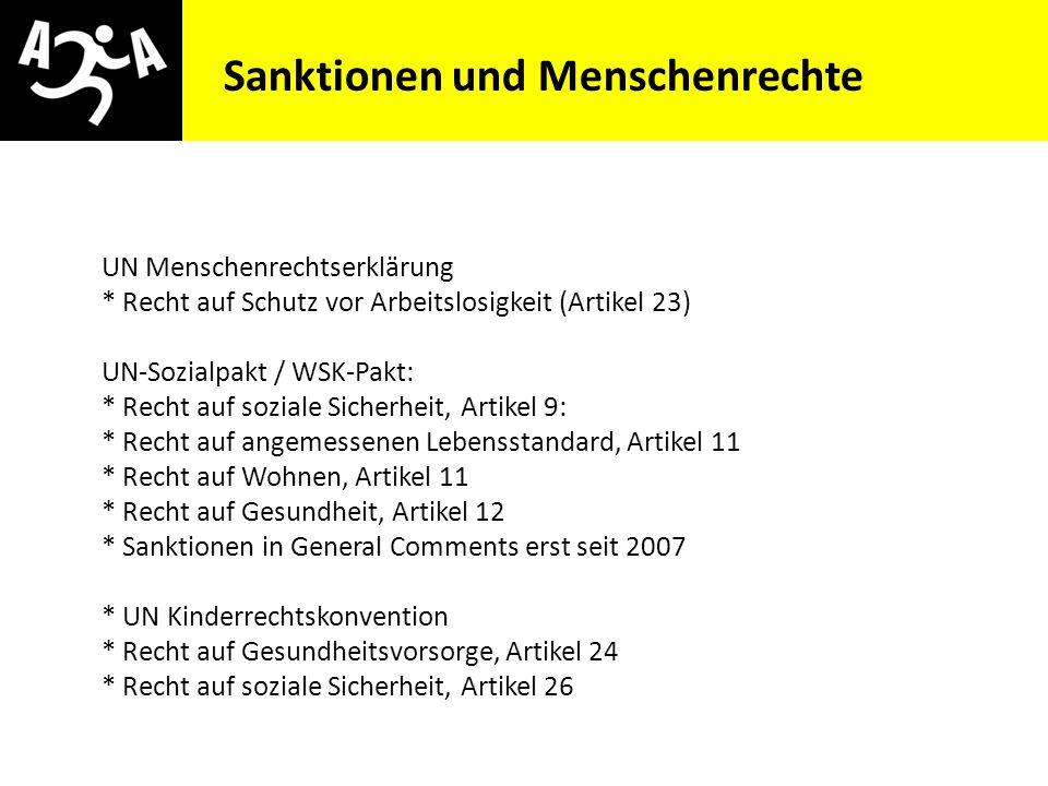 AIVG Novelle > verschlechtert Sanktionen und Menschenrechte UN Menschenrechtserklärung * Recht auf Schutz vor Arbeitslosigkeit (Artikel 23) UN-Sozialp