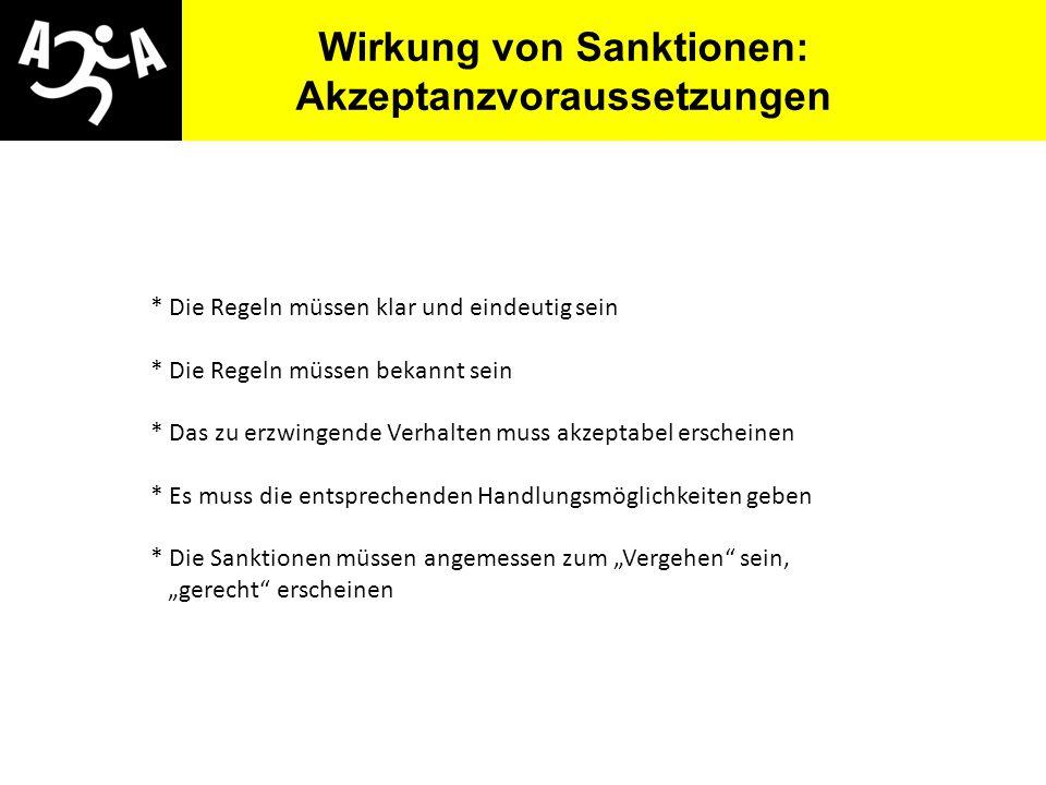 AIVG Novelle > verschlechtert Wirkung von Sanktionen: Akzeptanzvoraussetzungen * Die Regeln müssen klar und eindeutig sein * Die Regeln müssen bekannt