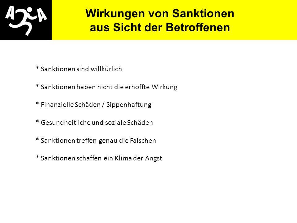 AIVG Novelle > verschlechtert Wirkungen von Sanktionen aus Sicht der Betroffenen * Sanktionen sind willkürlich * Sanktionen haben nicht die erhoffte W