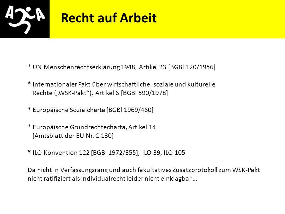 AIVG Novelle > verschlechtert Recht auf Arbeit * UN Menschenrechtserklärung 1948, Artikel 23 [BGBl 120/1956] * Internationaler Pakt über wirtschaftlic
