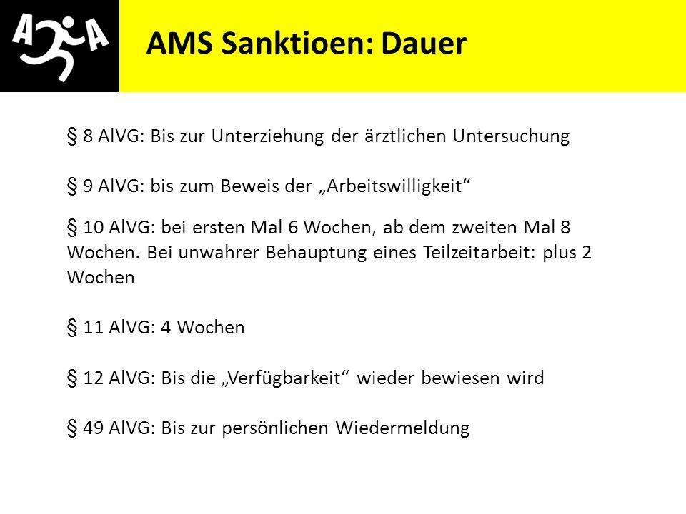 """AIVG Novelle > verschlechtert AMS Sanktioen: Dauer § 8 AlVG: Bis zur Unterziehung der ärztlichen Untersuchung § 9 AlVG: bis zum Beweis der """"Arbeitswil"""