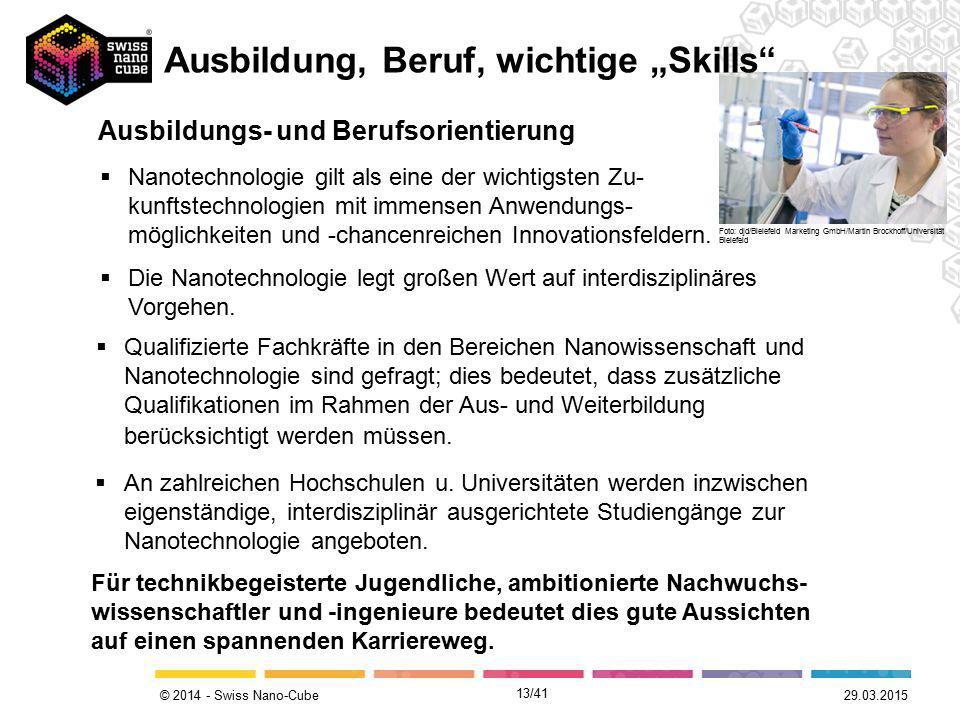 © 2014 - Swiss Nano-Cube 29.03.2015 Ausbildungs- und Berufsorientierung  Qualifizierte Fachkräfte in den Bereichen Nanowissenschaft und Nanotechnolog