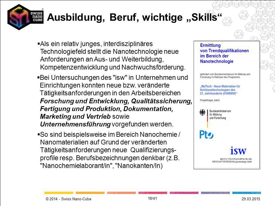 © 2014 - Swiss Nano-Cube 29.03.2015  Bei Untersuchungen des