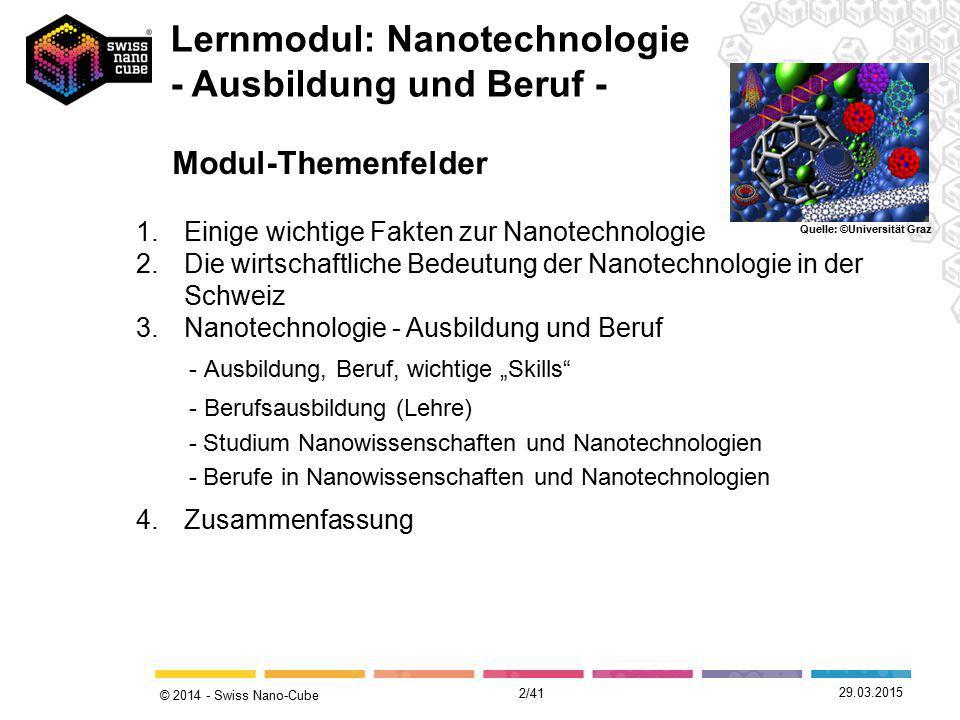 © 2014 - Swiss Nano-Cube Modul-Themenfelder 29.03.2015 Lernmodul: Nanotechnologie - Ausbildung und Beruf - Quelle: ©Universität Graz 1.Einige wichtige