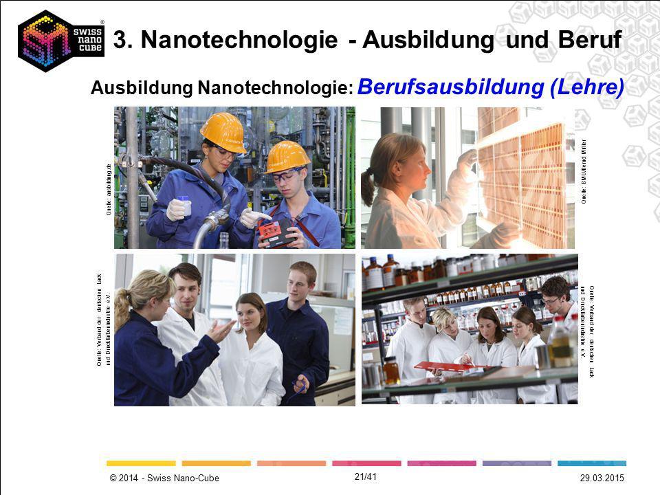© 2014 - Swiss Nano-Cube 29.03.2015 Ausbildung Nanotechnologie: Berufsausbildung (Lehre) Quelle: BMU/Bernd Müller Quelle: ausbildung.de Quelle: Verban
