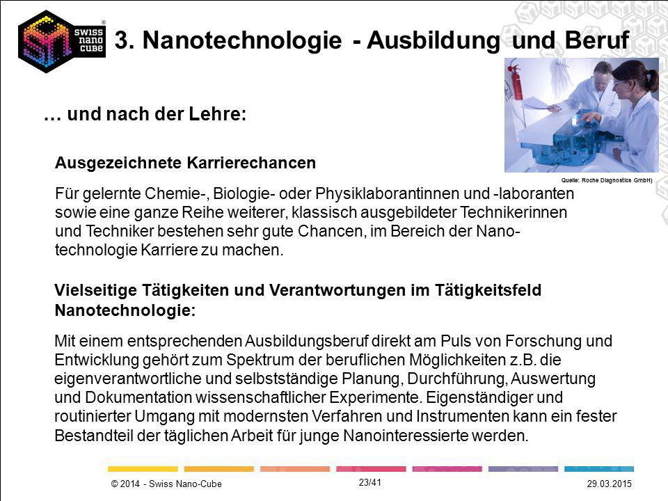 © 2014 - Swiss Nano-Cube 29.03.2015 Ausgezeichnete Karrierechancen Für gelernte Chemie-, Biologie- oder Physiklaborantinnen und -laboranten sowie eine