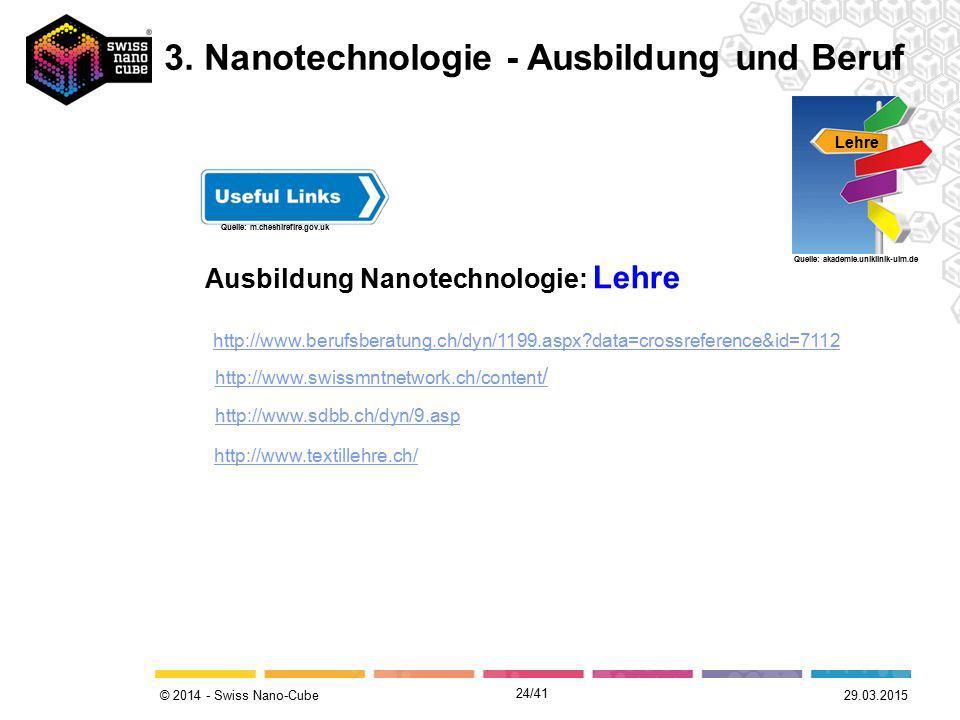© 2014 - Swiss Nano-Cube Ausbildung Nanotechnologie: Lehre Lehre Quelle: akademie.uniklinik-ulm.de Quelle: m.cheshirefire.gov.uk http://www.berufsbera