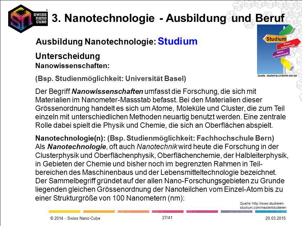 © 2014 - Swiss Nano-Cube Ausbildung Nanotechnologie: Studium Studium Nano- technologie Nano- wissenschaft Quelle: akademie.uniklinik-ulm.de Nanowissen