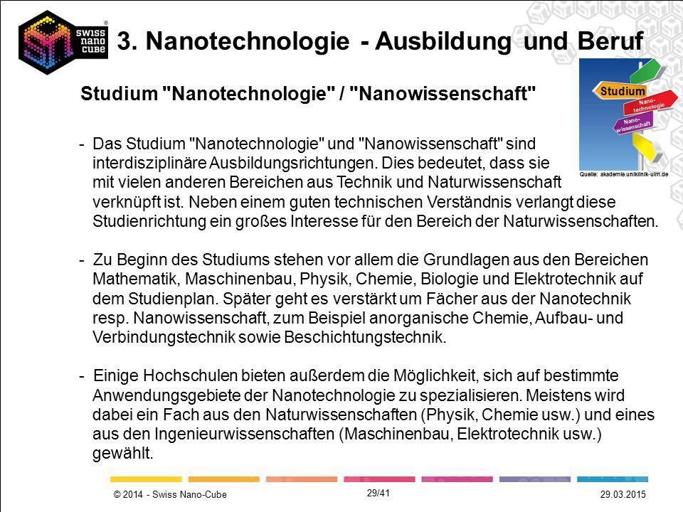 © 2014 - Swiss Nano-Cube -Das Studium