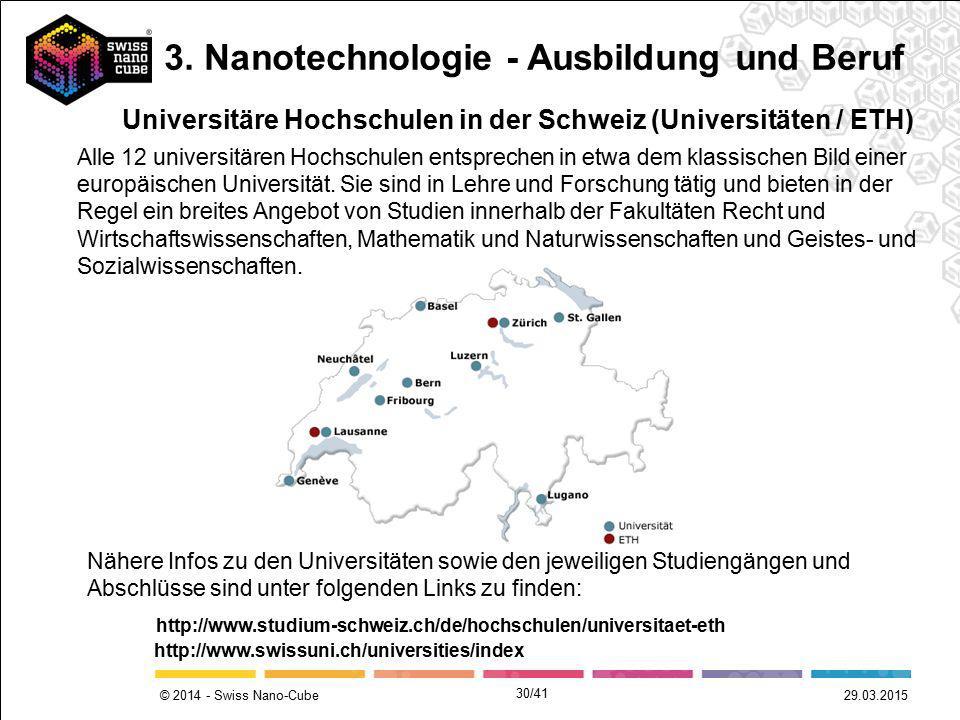 © 2014 - Swiss Nano-Cube 29.03.2015 Universitäre Hochschulen in der Schweiz (Universitäten / ETH) http://www.studium-schweiz.ch/de/hochschulen/univers