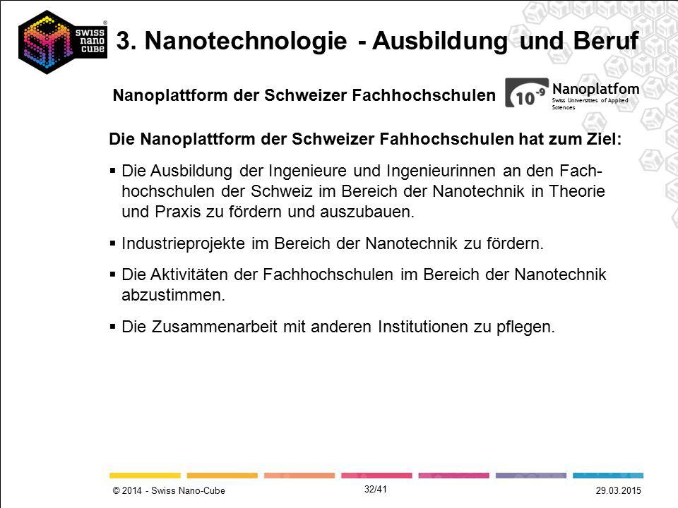 © 2014 - Swiss Nano-Cube 29.03.2015 Nanoplatfom Swiss Universities of Applied Sciences Die Nanoplattform der Schweizer Fahhochschulen hat zum Ziel: 
