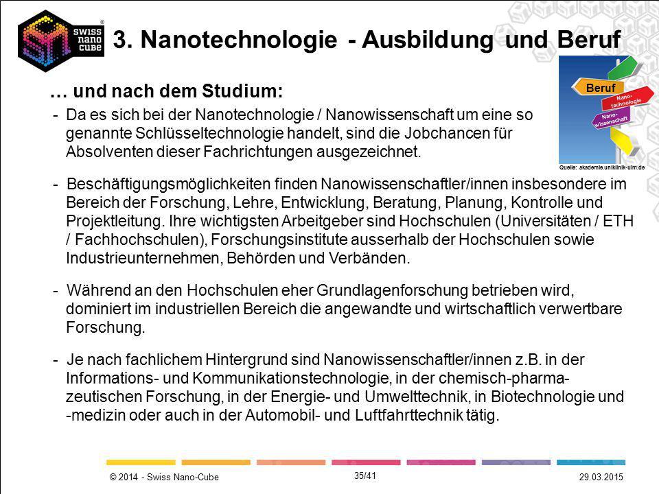© 2014 - Swiss Nano-Cube 29.03.2015 -Da es sich bei der Nanotechnologie / Nanowissenschaft um eine so genannte Schlüsseltechnologie handelt, sind die