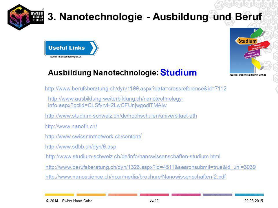 © 2014 - Swiss Nano-Cube Ausbildung Nanotechnologie: Studium Studium Nano- technologie Nano- wissenschaft Quelle: akademie.uniklinik-ulm.de Quelle: m.