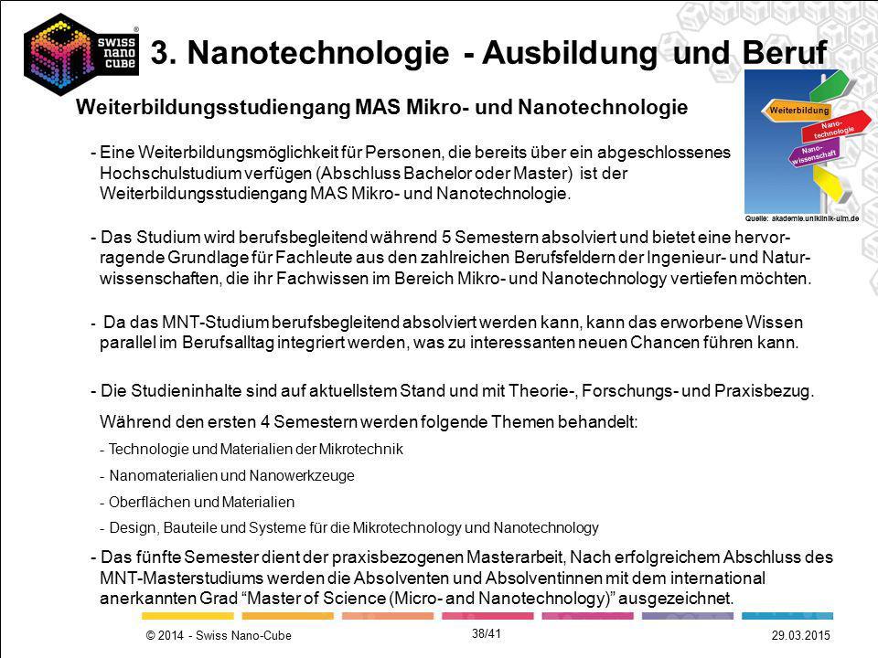 © 2014 - Swiss Nano-Cube 29.03.2015 -Eine Weiterbildungsmöglichkeit für Personen, die bereits über ein abgeschlossenes Hochschulstudium verfügen (Absc