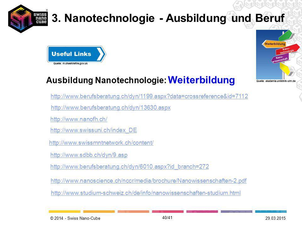 © 2014 - Swiss Nano-Cube Ausbildung Nanotechnologie: Weiterbildung Weiterbildung Nano- technologie Nano- wissenschaft Quelle: akademie.uniklinik-ulm.d