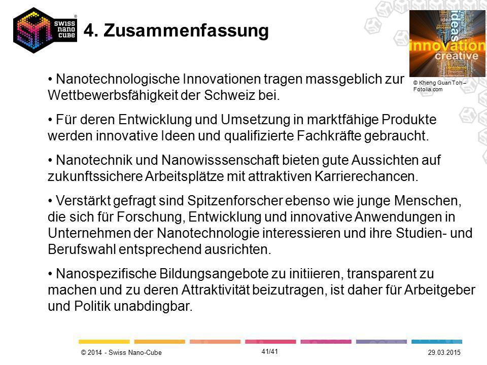 © 2014 - Swiss Nano-Cube Nanotechnologische Innovationen tragen massgeblich zur Wettbewerbsfähigkeit der Schweiz bei. Für deren Entwicklung und Umsetz