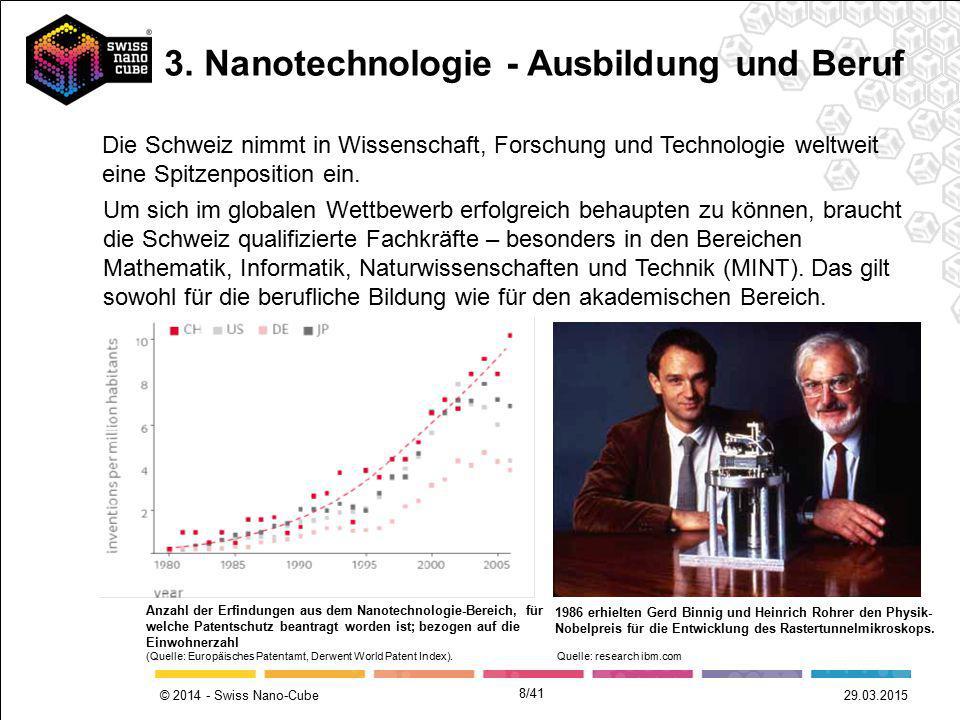 © 2014 - Swiss Nano-Cube 8/41 29.03.2015 Um sich im globalen Wettbewerb erfolgreich behaupten zu können, braucht die Schweiz qualifizierte Fachkräfte