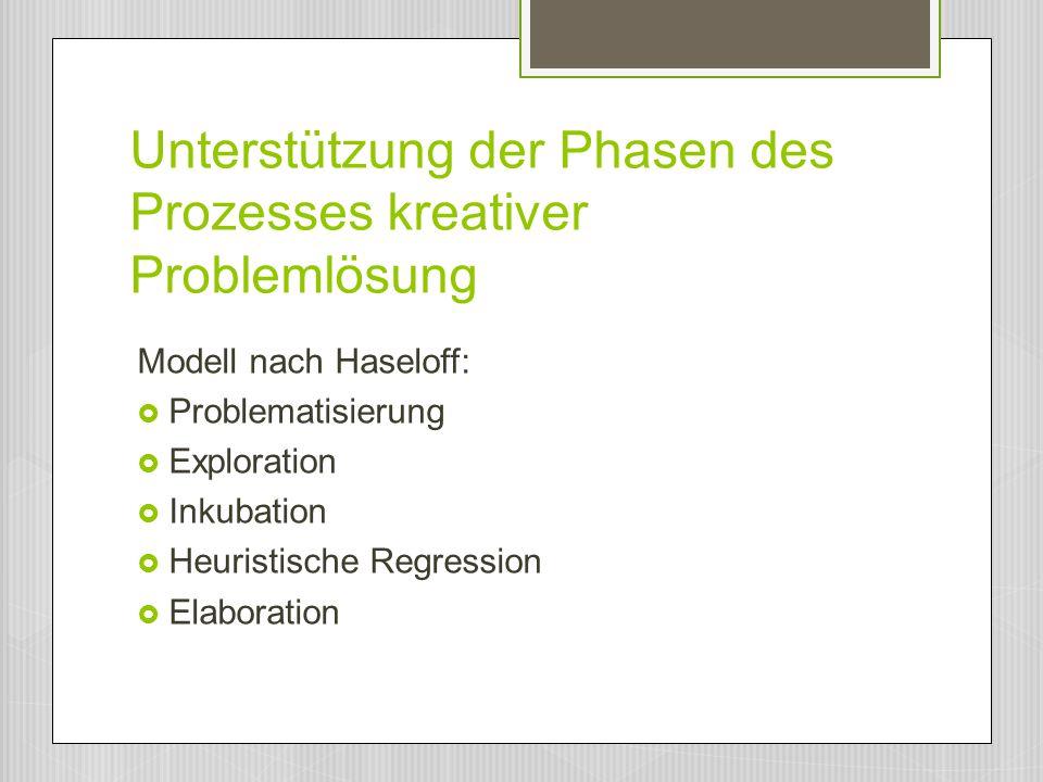 Unterstützung der Phasen des Prozesses kreativer Problemlösung Modell nach Haseloff:  Problematisierung  Exploration  Inkubation  Heuristische Reg