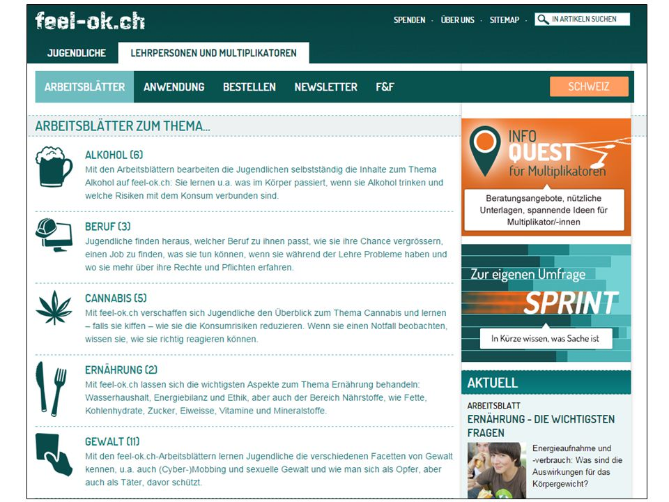 Arbeitsblätter – Die Liste www.feel-ok.ch, www.feel-ok.at, www.feelok.de 11