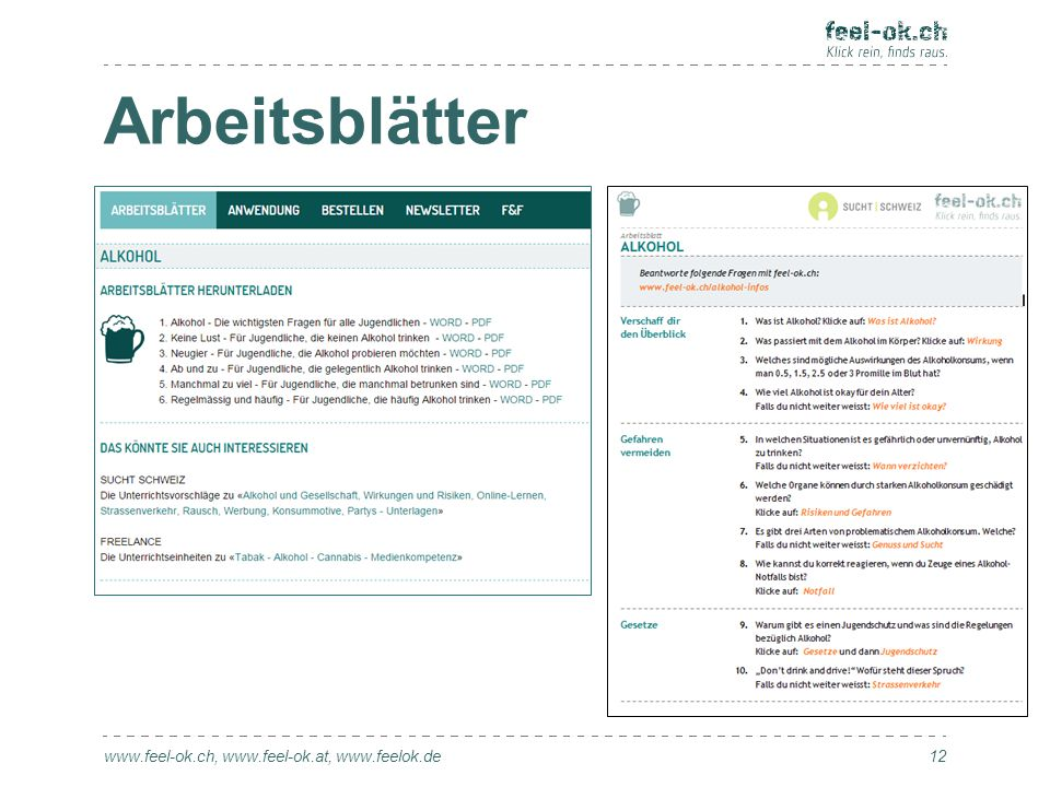 Arbeitsblätter www.feel-ok.ch, www.feel-ok.at, www.feelok.de 12