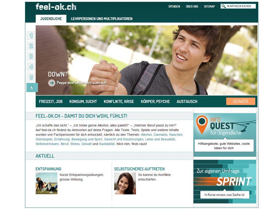 Für eine aktive Jugend www.feel-ok.ch, www.feel-ok.at, www.feelok.de Prävention von Alkoholabhängigkeit, Tabak- und Cannabiskonsum Suizidalität, Gewalt, Essstörungen, Stress und Glücksspielsucht Unterstützung bei der Berufswahl und beruflichen Schwierigkeiten 3