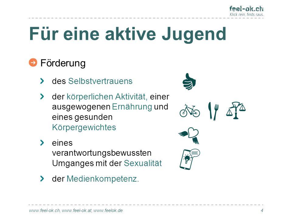 Für eine aktive Jugend www.feel-ok.ch, www.feel-ok.at, www.feelok.de Förderung des Selbstvertrauens der körperlichen Aktivität, einer ausgewogenen Ern