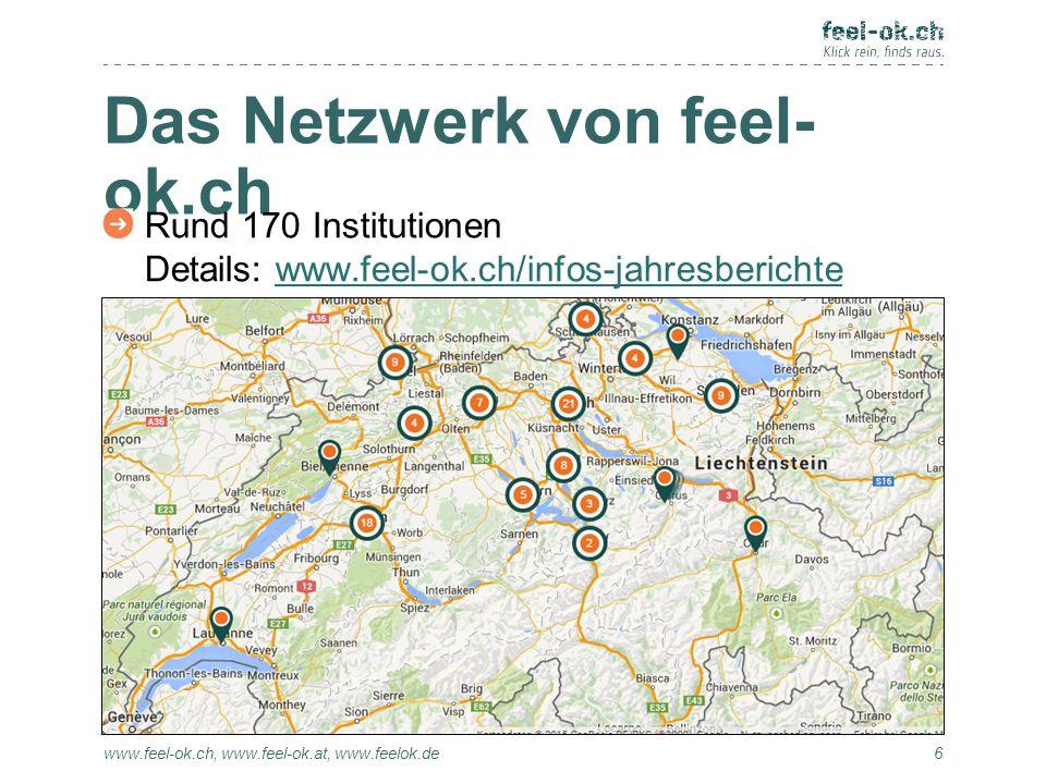 Das Netzwerk von feel- ok.ch www.feel-ok.ch, www.feel-ok.at, www.feelok.de Rund 170 Institutionen Details: www.feel-ok.ch/infos-jahresberichtewww.feel