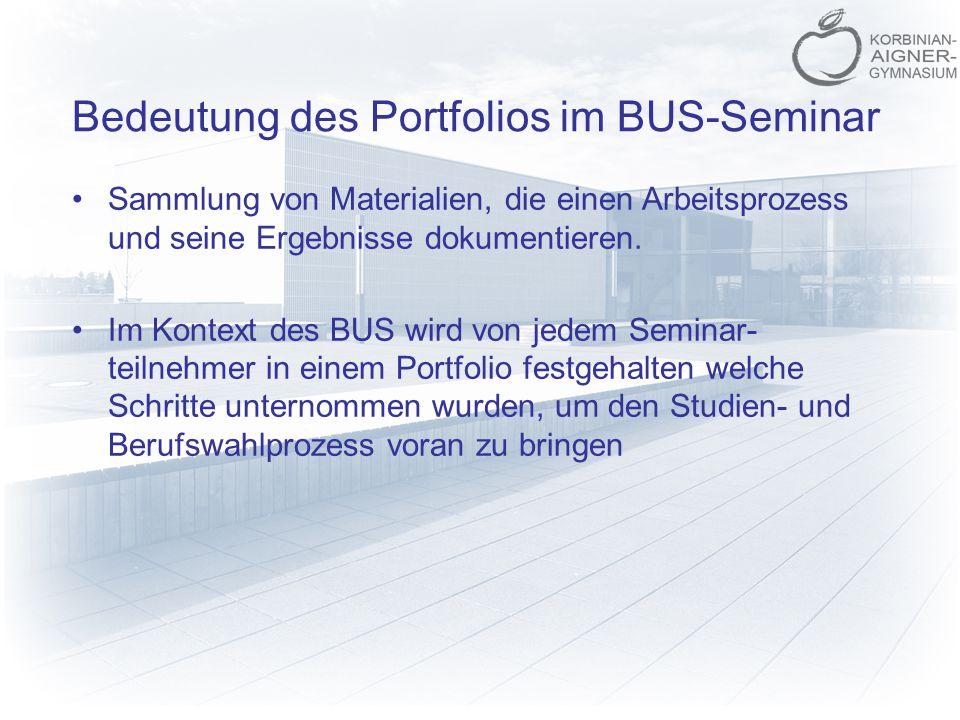 Bedeutung des Portfolios im BUS-Seminar Sammlung von Materialien, die einen Arbeitsprozess und seine Ergebnisse dokumentieren. Im Kontext des BUS wird