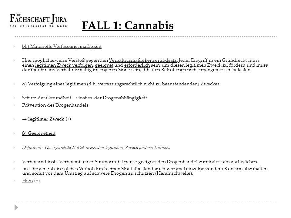 FALL 1: Cannabis  bb) Materielle Verfassungsmäßigkeit  Hier möglicherweise Verstoß gegen den Verhältnismäßigkeitsgrundsatz: Jeder Eingriff in ein Gr