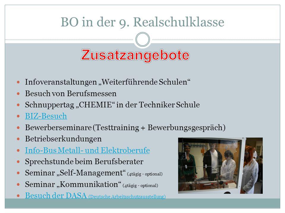 """BO in der 9. Realschulklasse Infoveranstaltungen """"Weiterführende Schulen"""" Besuch von Berufsmessen Schnuppertag """"CHEMIE"""" in der Techniker Schule BIZ-Be"""