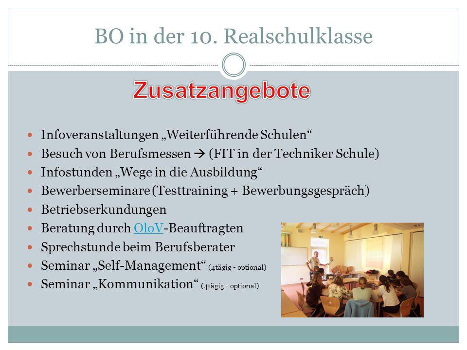 """BO in der 10. Realschulklasse Infoveranstaltungen """"Weiterführende Schulen"""" Besuch von Berufsmessen  (FIT in der Techniker Schule) Infostunden """"Wege i"""