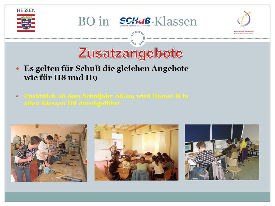 BO in -Klassen Es gelten für SchuB die gleichen Angebote wie für H8 und H9 Zusätzlich ab dem Schuljahr 08/09 wird Hamet II in allen Klassen H8 durchge