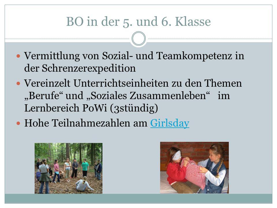 """BO in der 5. und 6. Klasse Vermittlung von Sozial- und Teamkompetenz in der Schrenzerexpedition Vereinzelt Unterrichtseinheiten zu den Themen """"Berufe"""""""