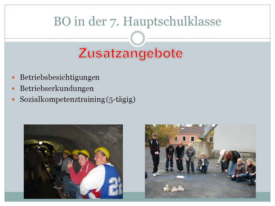 BO in der 7. Hauptschulklasse Betriebsbesichtigungen Betriebserkundungen Sozialkompetenztraining (5-tägig)